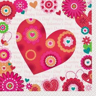 20 Servietten Herzchen und Blumen zum Valentins Tag