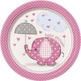 8 kleine Teller Baby Elefant rosa