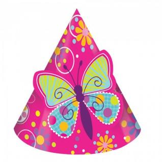 8 Party Hütchen bunter Schmetterling