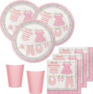48 Teile Baby Party in Rosa Babyshower Set für 16 Personen