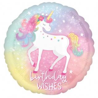 Geburtstags Folien Ballon rosa Einhorn