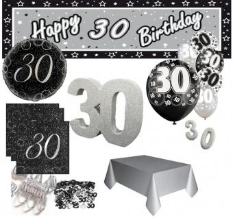 XXL Party Dekorations Set zum 30. Geburtstag in Schwarz Silber foliert für 16 Personen