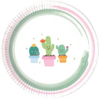 8 Teller Happy Kaktus Pastell Farben Party