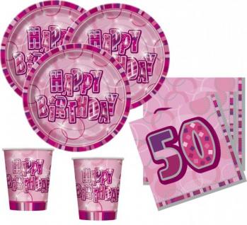 48 Teile Party Set zum 50. Geburtstag in Pink für 16 Personen