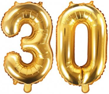 Folienballons Zahl 30 Gold Metallic 35 cm