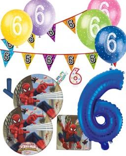 57 Teile 6. Geburtstag Spiderman Party Deko Set für 8 Kinder