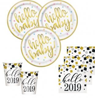 XL 46 Teile Hello Baby Babyshower 2019 Party Deko Set Gold foliert für 8 Personen - Vorschau 2