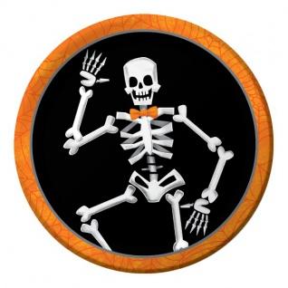 8 kleine Halloween Papp Teller tanzendes Skelett