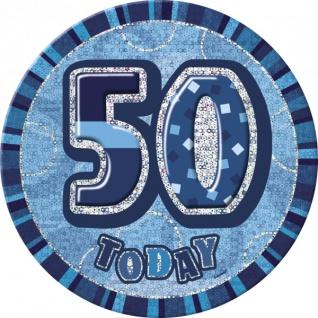 XXL Glitzer Button 50. Geburtstag Blau