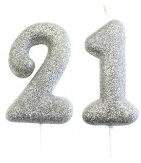 Kuchen Kerze 21. Geburtstag Silber Glitzer