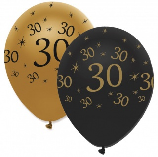 6 Luftballons 30. Geburtstag Black and Gold
