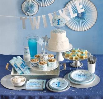 48 Teile Erster Geburtstag Blinke Kleiner Stern Blau Party Deko Set 16 Personen - Vorschau 5
