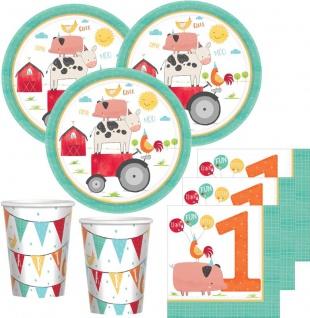 32 Teile 1. Geburtstag Bauernhof Party Deko Set 8 Personen