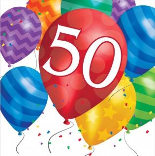 16 Servietten 50. Geburtstag bunte Ballons Party