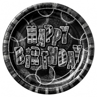 8 Happy Birthday Party Glitzer Teller Schwarz