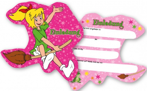 6 Bibi Blocksberg Einladungskarten