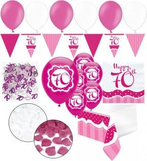 XXL 35 Teile zum 70. Geburtstag Perfectly Pink für 18 Personen - Servietten