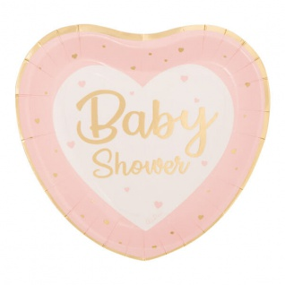 8 Papp Teller zur Baby Party Herzen in Rosa und Gold