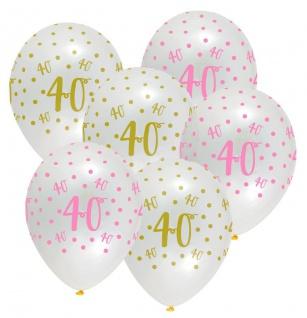 XL 44 Teile Pink Chic Party Deko Set zum 40. Geburtstag in Rosa und Gold Glanz für 8 Personen - Vorschau 4