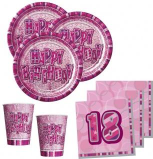 32 Teile zum 18. Geburtstag Glitzer Party Set in Pink für 8 Personen - mit Glitzer Effekt! - Vorschau 1