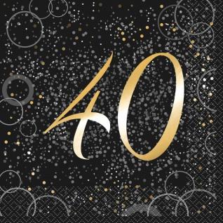 40. Geburtstag 16 Servietten in Schwarz Gold foliert