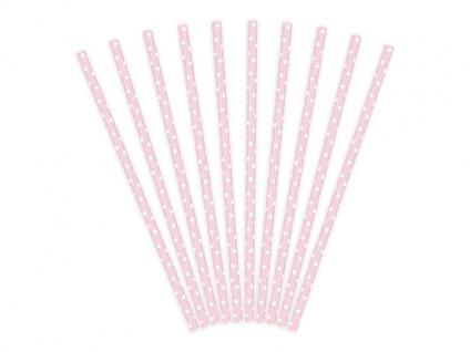 10 Papier Trinkhalme rosa weiß gepunktet - Vorschau 2