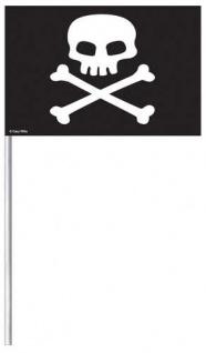 8 kleine Black Skull Piraten Fähnchen aus Papier