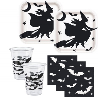 36 Teile Hexe und Fledermaus Halloween Party Set für 8 Personen