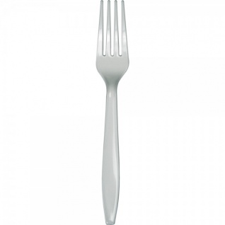 24 Premium Plastik Gabeln Silber