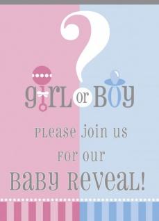 8 Einladungskarten Babyparty Junge oder Mädchen