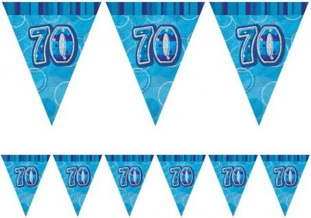 70. Geburtstag Wimpel Girlande Blau