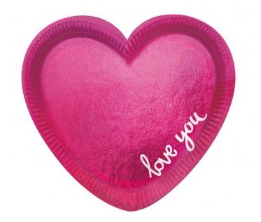 6 kleine Papp Teller in Herz Form Pink You + Me foliert