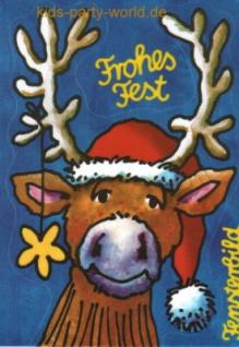 Fensterbild Postkarte Weihnachts Rentier