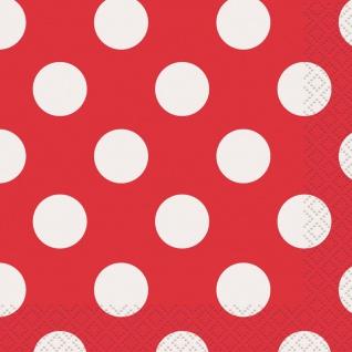 16 Servietten Rot mit Punkten