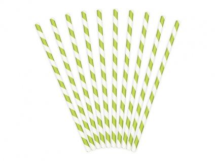 10 Papier Trinkhalme apfel grün weiß gestreift - Vorschau 2