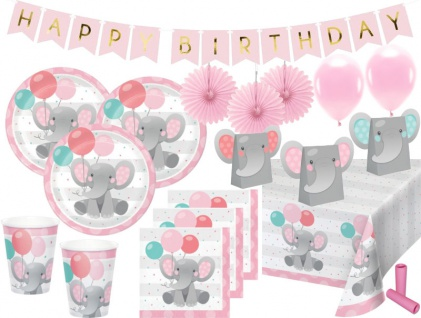 XL 56 Teile Rosa Baby Elefant Party Deko Set für 8 Personen
