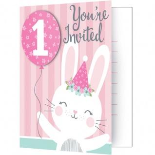8 Einladungskarten rosa Häschen zum 1. Geburtstag