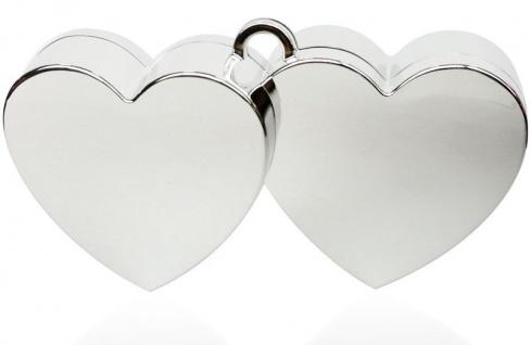 Ballongewicht Doppeltes Herz Silber