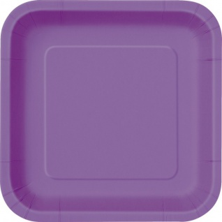 16 kleine quadratische Papp Teller Lila Pflaume