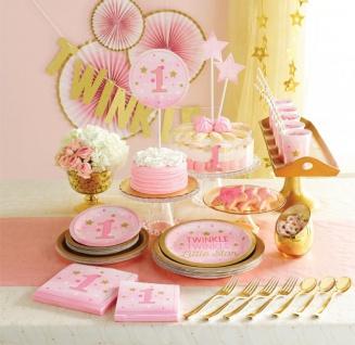 48 Teile Blinke Kleiner Stern Rosa Party Deko Set 16 Personen für die Baby Shower oder Kindergeburtstag - Vorschau 5