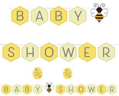 Baby Shower Girlande am Satinband Bienchen Party