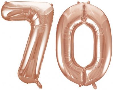 Folien Ballon Zahl 70 in Rosegold - XXL Riesenzahl 86 cm zum 70. Geburtstag