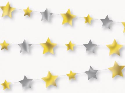 Sternen Girlande in Silber und Gold Glitzer