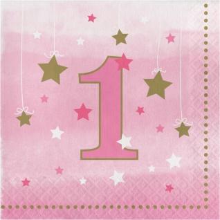 16 Servietten blinke kleiner Stern zum 1. Geburtstag in Rosa