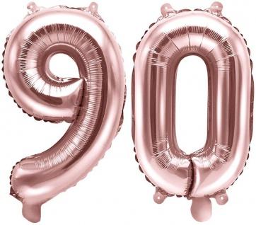 Folienballons Zahl 90 Rosegold Metallic 35 cm