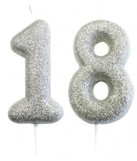 Kuchen Kerze 18. Geburtstag Silber Glitzer