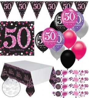 XXL 44 Teile zum 50. Geburtstag Pink Glitzer für 16 Personen