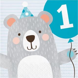 16 Servietten zum 1. Geburtstag blaues Bärchen