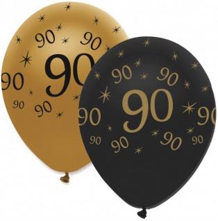 6 Luftballons 90. Geburtstag Black and Gold