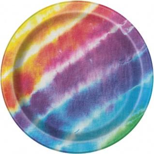 8 Papp Teller Regenbogen Hippie Batik Style